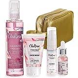 ClaRose, set regalo antietà per Lei, con siero viso, crema occhi, gel viso detergente e maschera viso con olio di rose natura