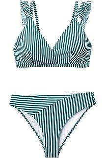CUPSHE Damen Bikini Set R/üschen Triangel Bikinioberteil Low Waist Strandmode Blumenmuster Zweiteiliger Badeanzug