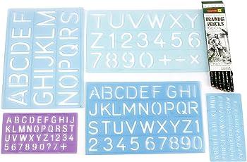 designers den alpha lettering stencil-templates-set of 5+Drawing Pencil set