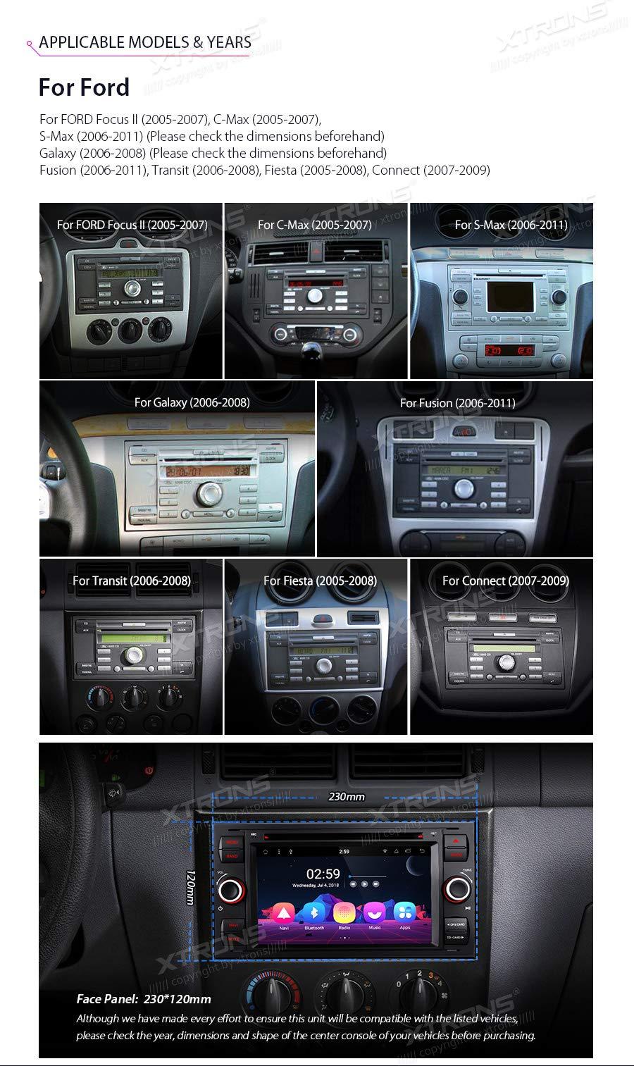 XTRONS-7-Auto-Touchscreen-Autoradio-Auto-DVD-Player-mit-Android-81-Octa-Core-Multimedia-Player-unterstzt-4K-Video-WiFi-4G-Bluetooth50-2GB-RAM-16GB-ROM-DAB-OBD2-FR-Ford