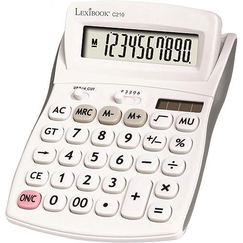 Calcolatrice da Ufficio a 10 cifre con schermo inclinato - Funzione di base e memoria - Tasti e schermo grandi per ufficio, scuola, casa - Solare e batterie - Bianco/Grigio - C210
