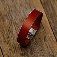 Bracelet en cuir italien, tanné végétal, rouge, taille moyenne pour poignet 165-180mm
