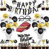 Suministros Cumpleaños Decoracion, Corbata Gafas Banner de Feliz Cumpleaños Cupcake Toppers Globos Decoración para Tarta Mago