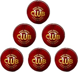 PSE Priya Sports Leather Club Cricket Ball Red Pack of 6 (4Part)