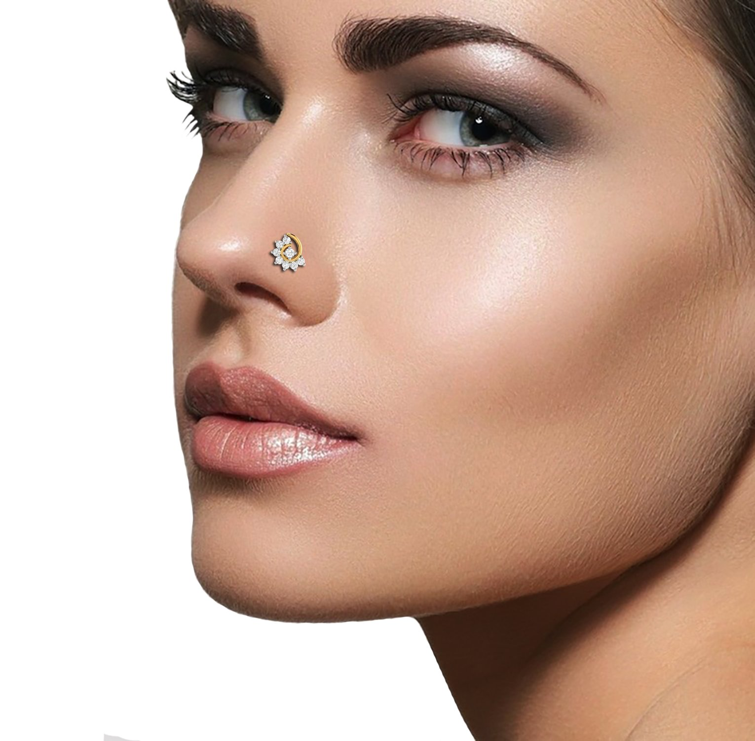 PC Jeweller The Fallamhain 18KT Yellow Gold and Diamond Nose Pin for Women