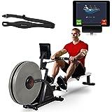 Sportstech Rameur RSX600 ergomètre Machine à Ramer à air + Freins magnétiques, Ceinture Cardio d'une Valeur DE 39,90€, Applications Fitness, 16 programmes d'entraînement, Mode de compétition, Pliable