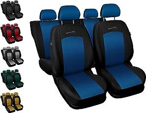 Sitzbezüge Auto Universal Set Autositzbezüge Schonbezüge Schwarz-Blau Vordersitze und Rücksitze mit Airbag - Sport Line