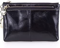 AINIMOER Women's Leather Small Wallet with Zipper Pockets(Black)