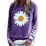 Yidarton Sudadera para mujer, informal, con estampado de flores, manga larga, cuello redondo, blusa, top, suéter