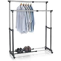 IDIMEX Portant à vêtements CASA en métal chromé et Noir, penderie Double sur roulettes vestiaire Mobile avec 2 Barres…