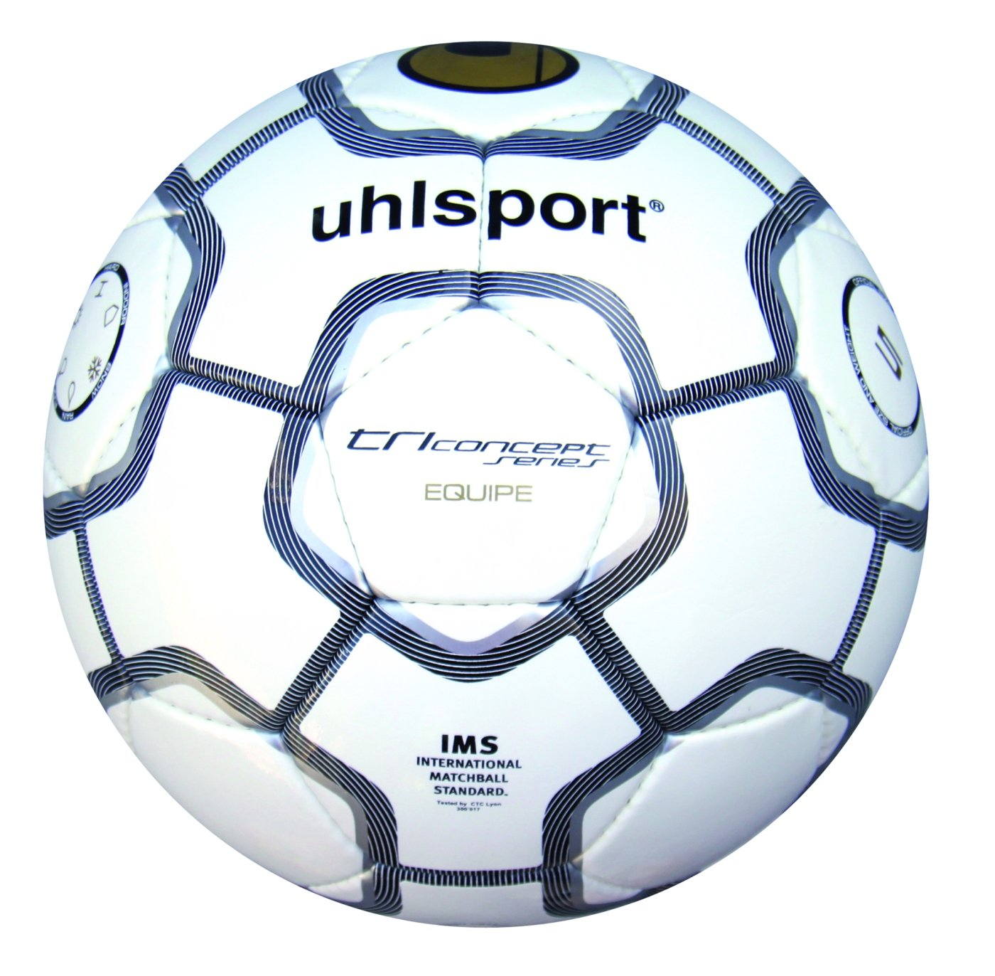 Uhlsport- TCPS Equipe, Pallone da calcio, Bianco/Nero/Argento, 5