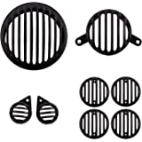 Autofy Plastic Grill for Royal Enfield Bullet Classic (Black, Set of 8)