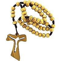 Rosario ulivo tondo mm 7 con croce tau traforata legatura seta Gerusalemme