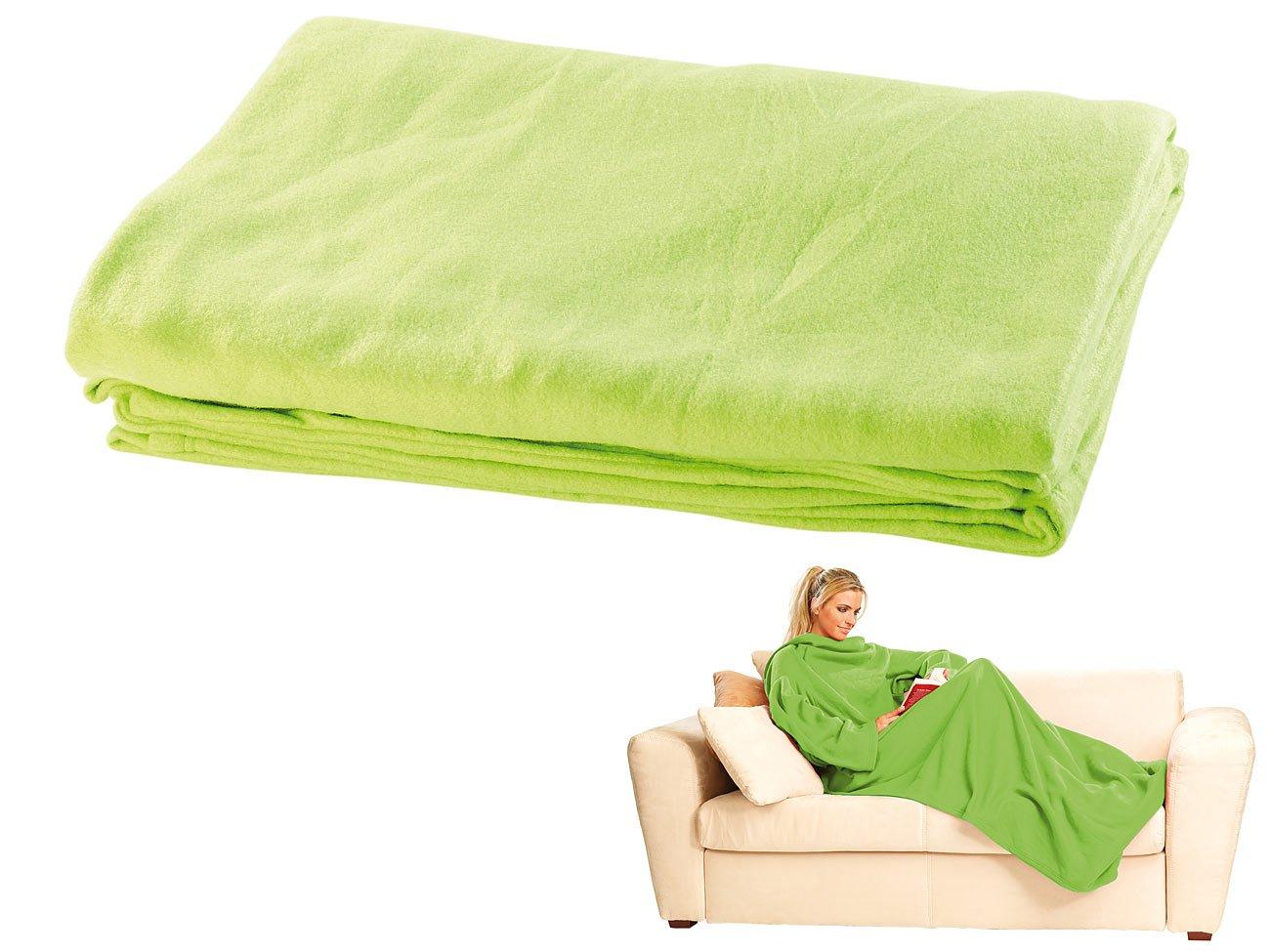 Wilson Gabor Ärmel Decken: Fleece-Kuscheldecke mit Ärmeln, grün (Hausanzug-Decke)