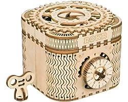 ROKR Maquette Bois Puzzles 3D Boîte aux trésors / boîte, Mechanical Model Kits en Bois 3D sans Colle (Treasure Box)