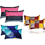 "BSB HOME® Present Designer Printed 6 Piece Cotton Pillow Cover Set- 20"" X30"" Inches, (White, Blue, Yellow, Maroon, Grey and P"