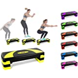 Xn8 Aerobic Stepper Fitness Steps-Adjustable Height 3 Level 10cm, 15cm & 20cm Cardio-Exercise-Steppers-for Home-Gym-Workout-Routines-Training