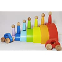 Paras   7 PC Rainbow Stacker Combo 7 Piece Wooden Stacking Toy + 2 Wooden Toy Cars + 7 Wooden peg Doll Round Stacking…
