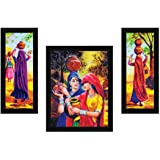 ArtX Paper Village Women Wall Art, Multicolor, Village, 13.5X22.5 in, Set of 3
