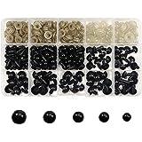 TOAOB 150pcs 6 à 12mm Noir Yeux de Poupée Animaux en Peluche de Sécurité en Plastique avec 150pcs Rondelles pour Marionnette