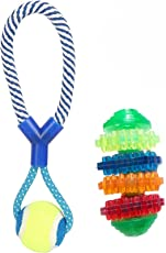 W9 High Quality Non Toxic Natural Tennis Ball Cotton Rope with Multi Color Toy for Small Pets - 30 cm-Multi Color