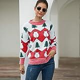 WXMTMDSB Suéter Mujer,Navidad Árbol Muñeco De Nieve Diseño Rojo Jumper Sudaderas Manga Larga Algodón Caliente Suave Simple Su
