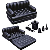 VK FAB 5 in 1 Inflatable Three Seater Queen Size Sofa Cum Bed with Electronic Pump (188x152x64 cm, Black)