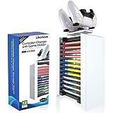 Likorlove Torre de Almacenamiento de Juegos y Cargador de Mando 2 en 1 para Playstation 5 Soporte de CD DVD Estantería Baldas