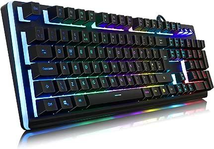 YockTec Eclairage LED personnalisable avec clavier de jeu pour PC, MAC et Windows Gamer 105 Touches rétro-éclairé LED RGB