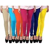 FABLAB Women's Cotton Leggings Set(FLCLCOMBO6-10,OrangePinkYellowBlueBegieSkyblue,FREE SIZE) Combo Pack of 6