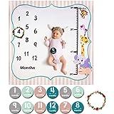 ANBET Coperta Bambino Mensile Milestone, Fotografia di Sfondo Neonato Prop Foto Adesivi mensili e Corona per Ragazze dei Raga