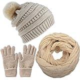 Yutdeng Conjunto de Gorro y Bufanda de Punto Mujer Invierno Calentador de Cuello Niña Forro y Piel Gorro de Pompón Caliente I