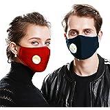 2 Algodón lavable reutilizable con válvula de respiración con 10 filtros de carbón activado,gases de escape, antialérgico pol