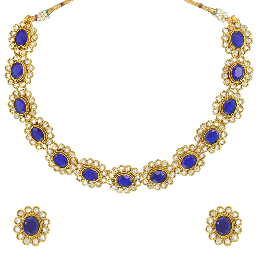 Adiva Bridal Dulhan Blue Copper Alloy Jewellery Set with