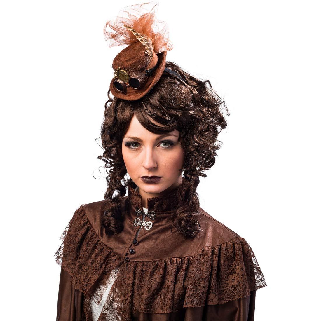 NET TOYS Mini Sombrero a la Moda con Plumas para Mujer Estilo Steampunk | Marrón | Refinado Accesorio Adorno para el Cabello para Disfraz Dama Victoriana | Ideal para Festivales y Halloween