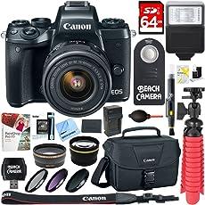 Canon EOS M5 Mirrorless Black Digital Camera w/ 15-45mm is STM Lens + 64GB Memory Card + Camera Bag + 0.43x Wide Angle + 2.2X Telephoto Lens Converter + 49mm Filter Kit + Microfiber Cloth+Tripod+More