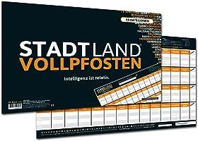DENKRIESEN Stadt Land Vollpfosten - Intelligenz-ist-relativ - Stadt Land Fluss neu aufgelegt - Spielblock (Din A3-Format), XXL Spielblock
