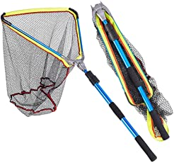 Seasaleshop Angeln Kescher Netz Fischnetz Gummi Beschichtetes Netz Mit Ausziehbarem Teleskopgriff für Größe Fische auch für Teich und Pool by