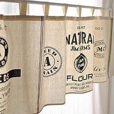 Fuya Kurze Küchengardine, Schiebevorhang, modernes Design, minimalistischer Stil, Schwarz/ Weiß