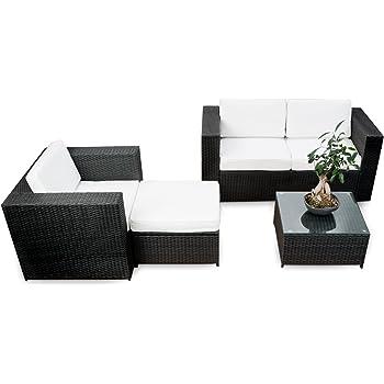 Amazon De 2er Polyrattan Lounge Mobel Sofa Braun Gartenmobel