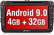 PUMPKIN Android 9.0 Autoradio für VW Radio mit Navi 4GB / 8 Core Unterstützt Bluetooth DAB + CD DVD WiFi 4G Android Auto USB