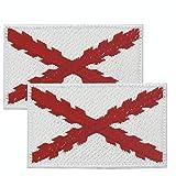 2 Banderas de CRUZ DE BORGOÑA PARCHE BORDADO AUTOADHESIVO, parches termoadhesivos para todo tipo de prendas y artículos texti
