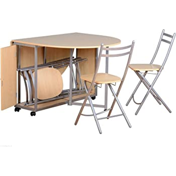 Nice Butterfly Beech Dining Set With 4 Silver Foldaway Chairs.