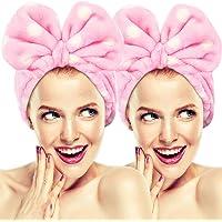 Hairizone - Set di 2 fasce elastiche per capelli con fiocco, per lavare il viso, trucco, doccia, terme, massaggi e sport…