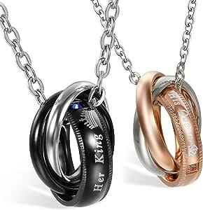 JewelryWe Collana Coppia Amanti Fidanzati in Acciaio Inossidabile Her King His Queen, Colore Oro Rosa/Nero, Regalo San Valentino