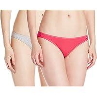 Jockey Women's Cotton Bikini Brief (SS02_Lt.Grey Melange & Ruby_Medium)(Pack of 2)