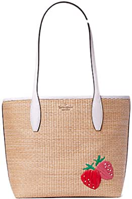Kate Spade New York Small Straw Tote with Wristlet Natural Strawberry Hangtag