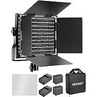 Neewer 660 LED Lampe de Vidéo Réglable Bi-Colore avec Batterie Rechargeable 3200-5600K, CRI 96+, U Support et CoupeFlux pour Studio Photo Vidéo Youtube