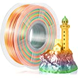 Seda Filamento PLA 1.75mm Color Arcoiris, SUNLU Shiny Multicolor Silk PLA Filamento para Impresora 3D, Precisión Dimensional