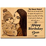 GFTBX Birthday Gift for Sister - Personalized Engraved Wooden Photo Frame with Photo Upload   Customized Gifts for Sister on
